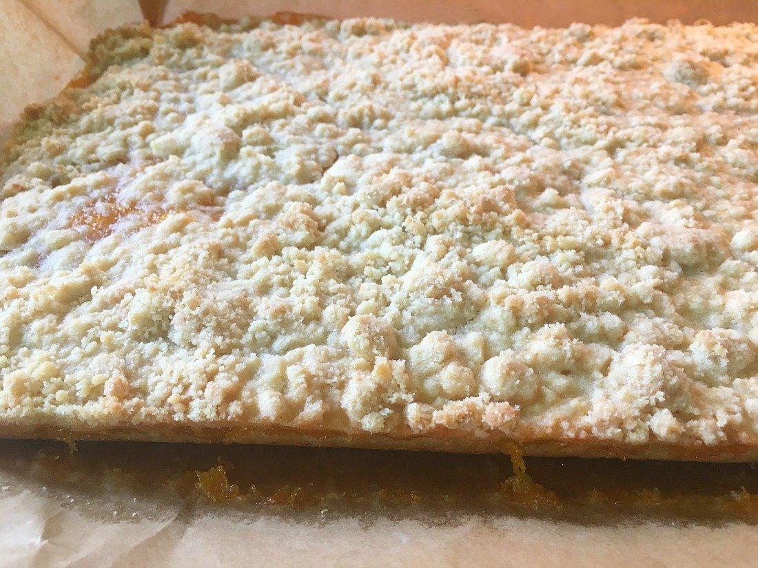 Amazing Glazed Peach Crumb Bars-peppermillbnb-crumbs