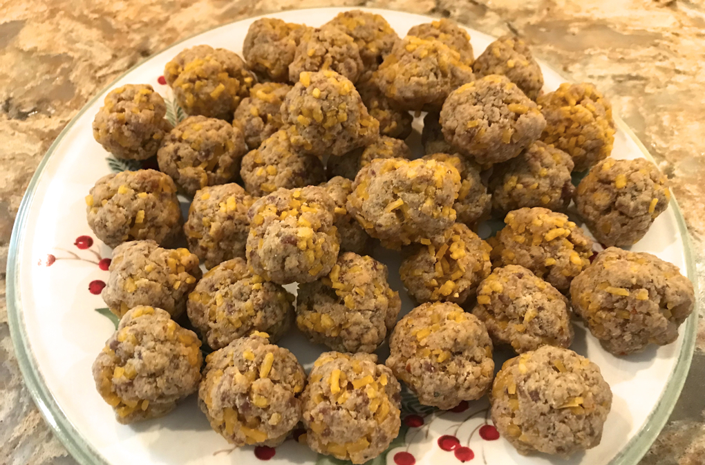 Photo of Paleo Sausage Cheese Balls on holiday plate