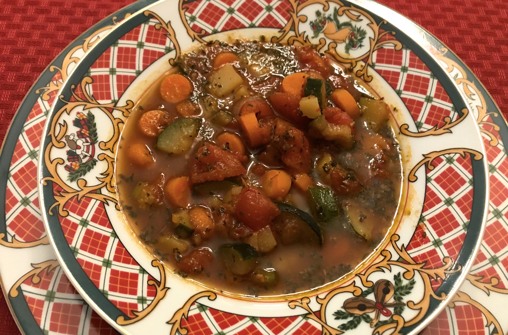 Photo of Roasted Tomato Vegetable Soup in holiday soup bowl