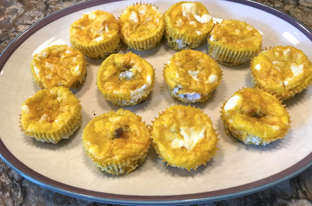 Photo of crustless quiche cups with sausage and cheese