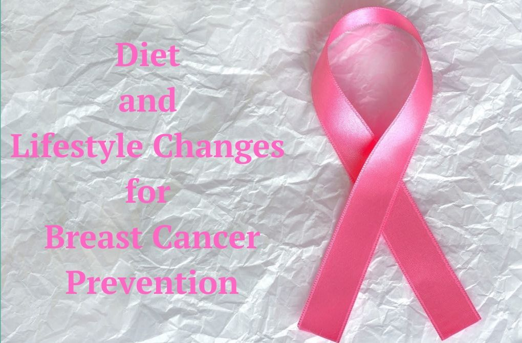 """Image of pink ribbon beside text that says, """"Diet and Lifestyle Changes for Breast Cancer Prevention"""""""