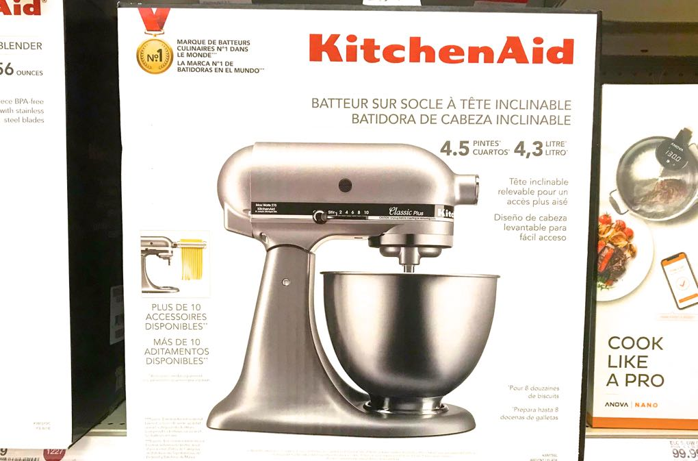 Photo of silver stand mixer in box
