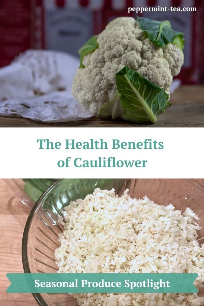 Photos of cauliflower (whole and minced) as an example of the health benefits of cauliflower