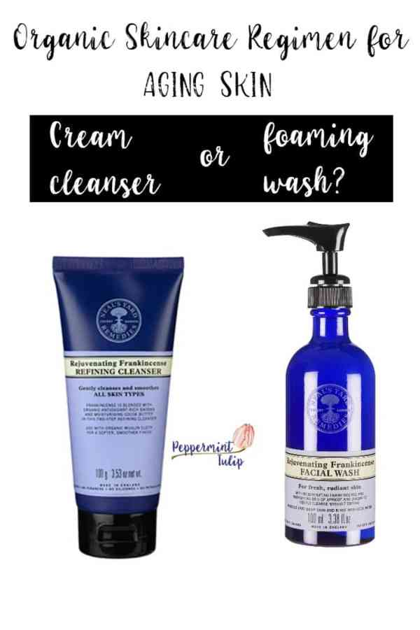 Cream cleanser or foaming wash for organic products for face. Peppermint Tulip blog.