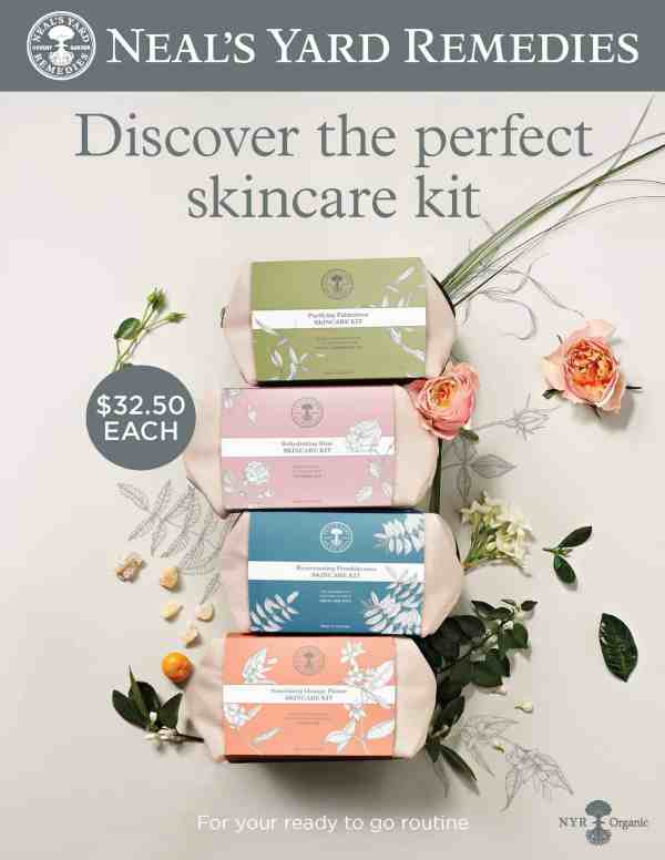 NYR Organic Skincare Kits. Five kits for different skin types. Made with organic ingredients. Peppermint Tulip Blog. Neal's Yard Remedies.