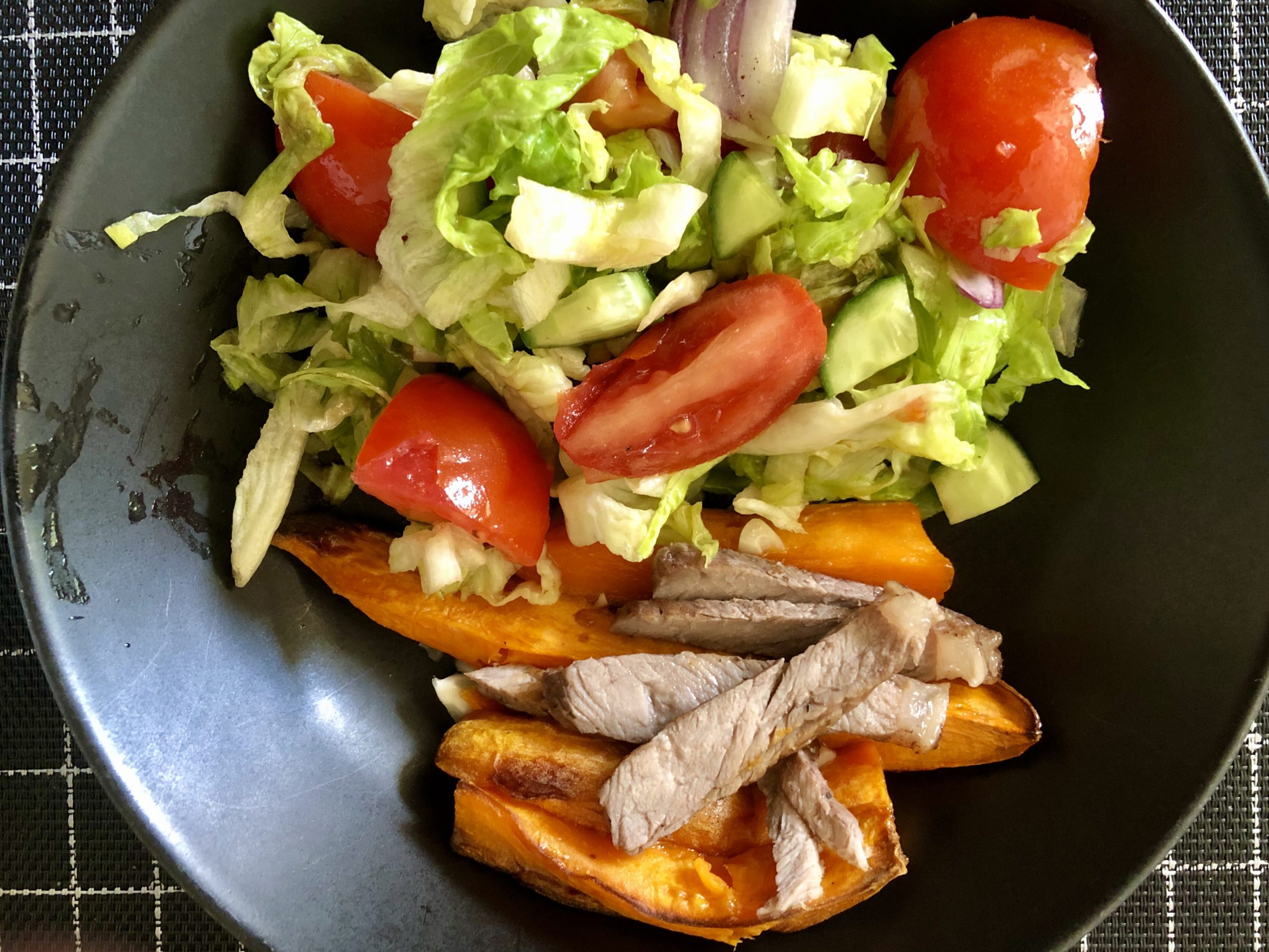 Roasted Sweet Potato with Roast Beef Strips