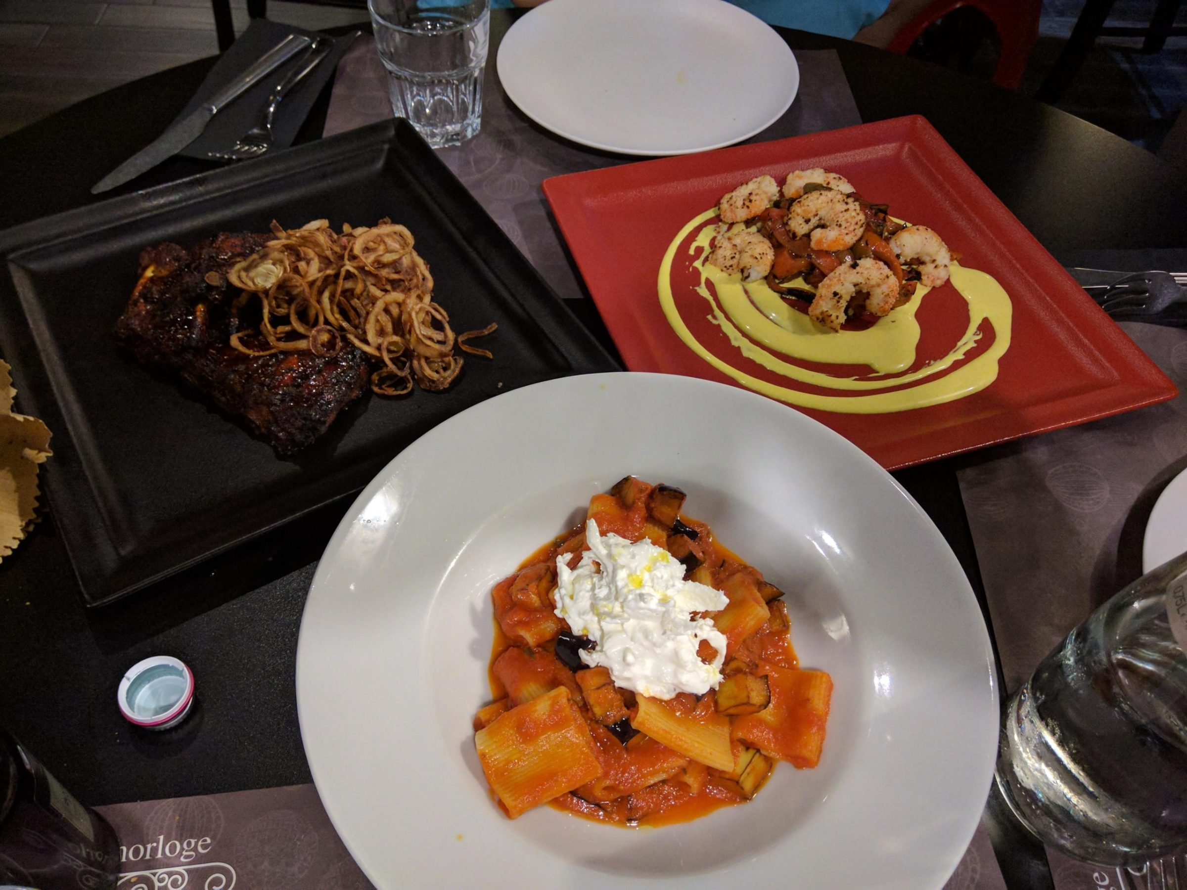 Pasta with aubergine and burrata