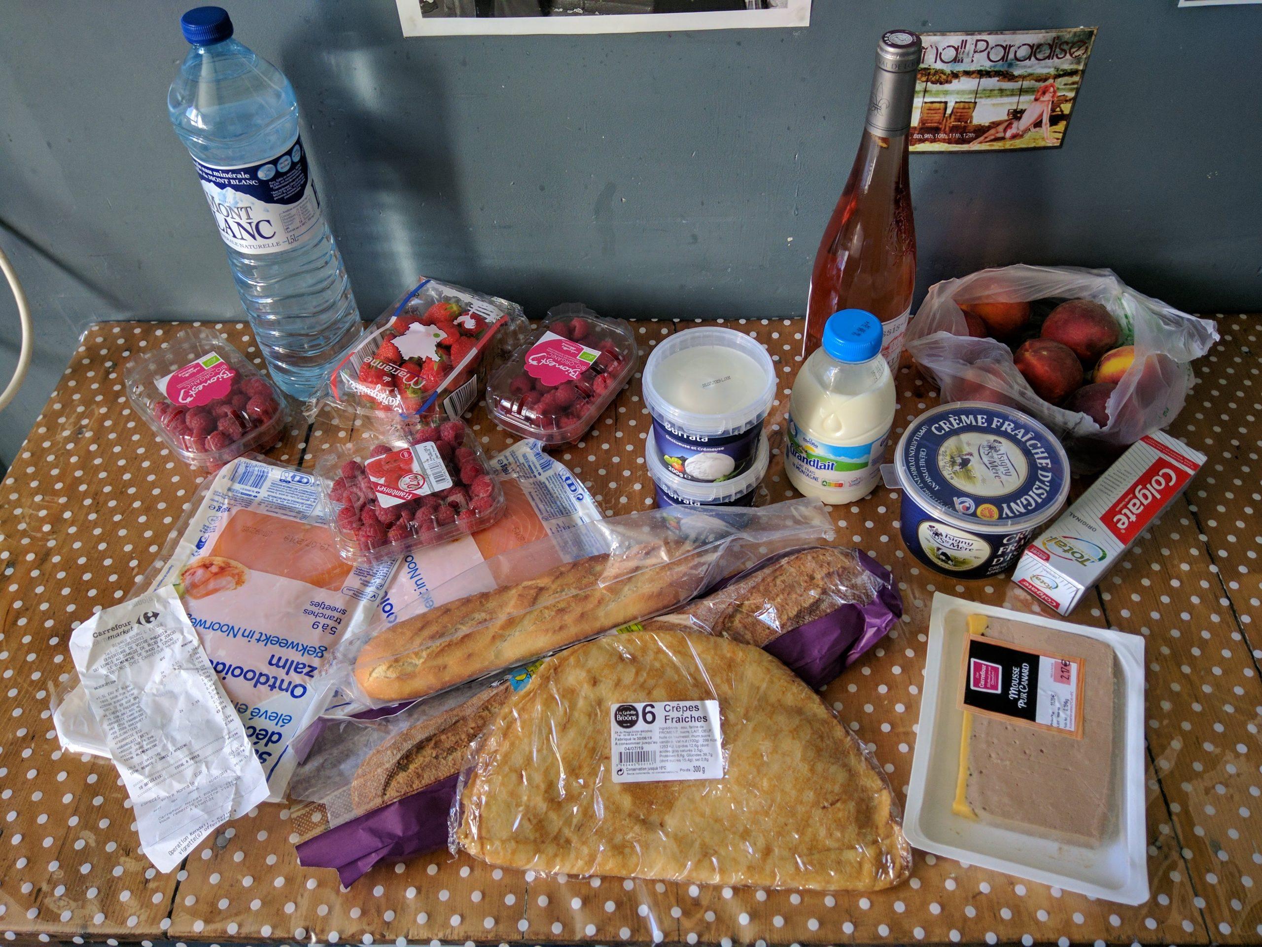 Breakfast from supermarket, Rennes, France