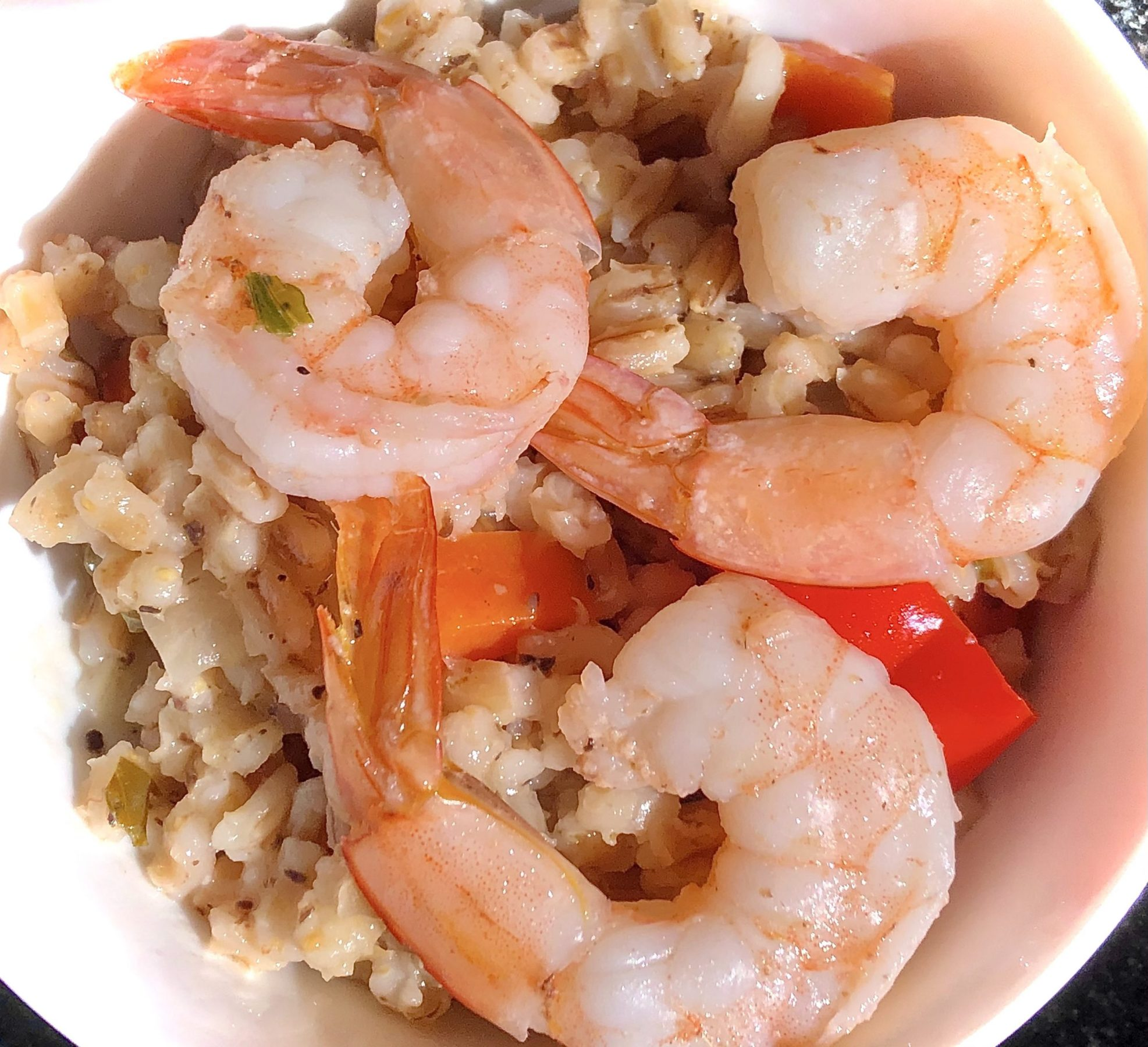Barley risotto with shrimps