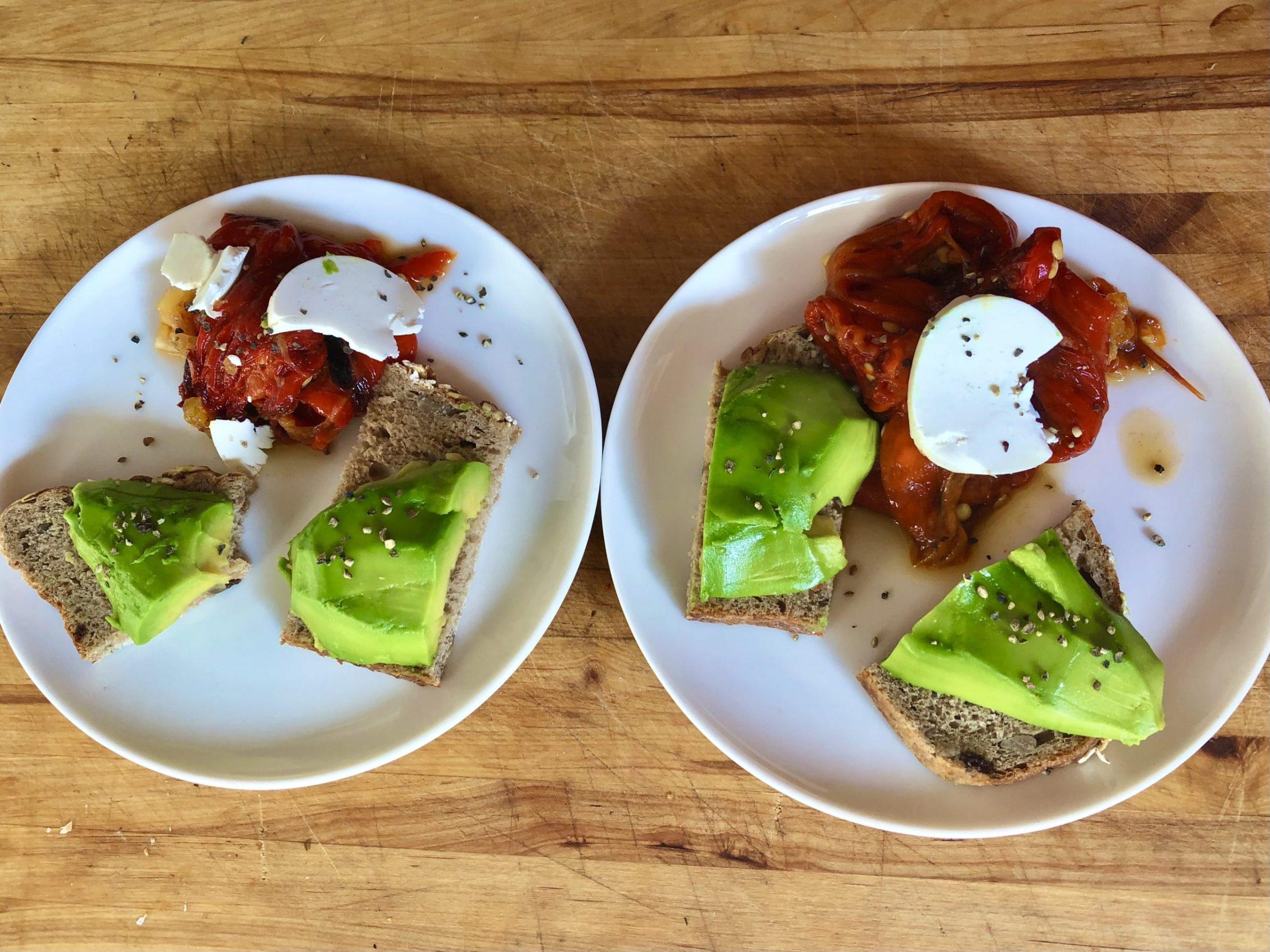 Tapas: Rye bread toast with avocado and Romano peppers
