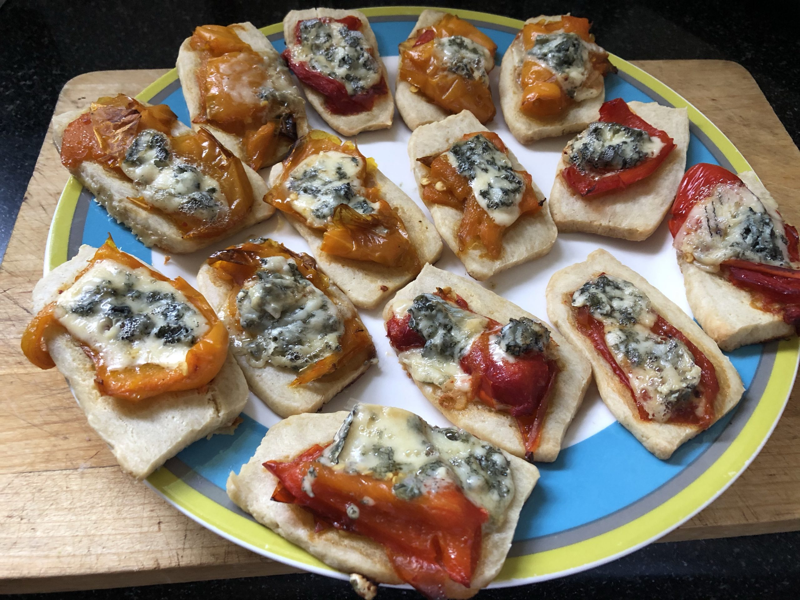 Pepper and blue cheese canapes