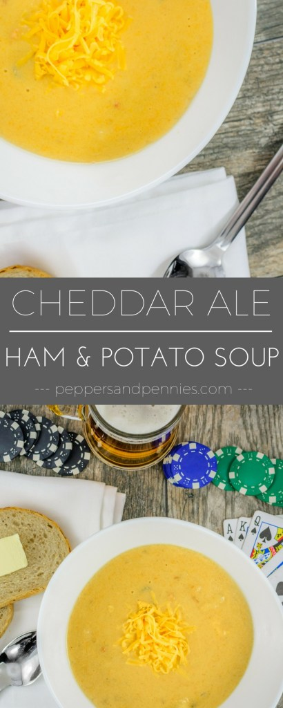 Cheddar Ale Ham and Potato Soup | Peppers and Pennies