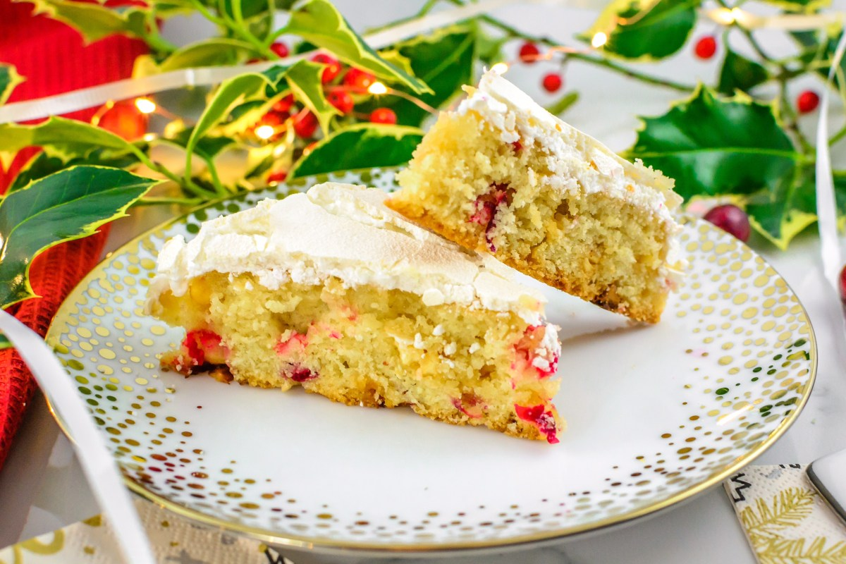 White Chocolate Cranberry Meringue Square