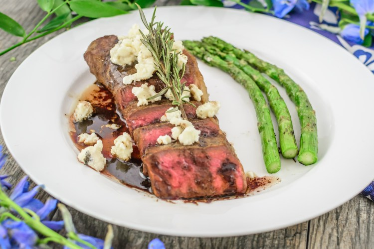 BBQ Strip Sirloin with blue cheese