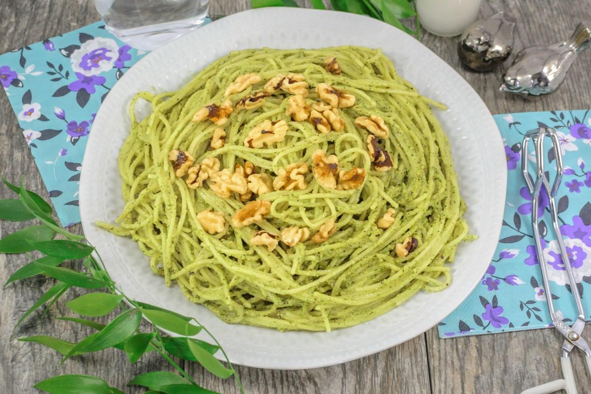 Gluten Free Walnut Pesto Pasta