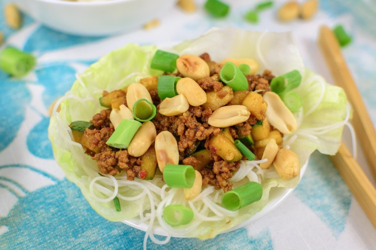 Easy Peanut, Pork and Zucchini Lettuce Wraps for Two