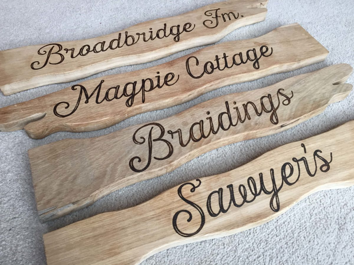 Pyrography - Custom House Name Project Final Pictures