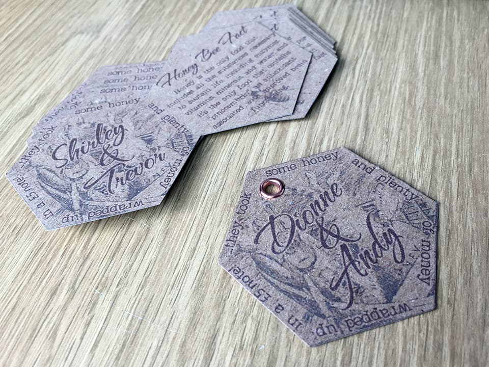 Handmade hexagonal gift tags printed on a kraft board with a metal eyelet through the top. Themed to the 'owl and the pussycat'