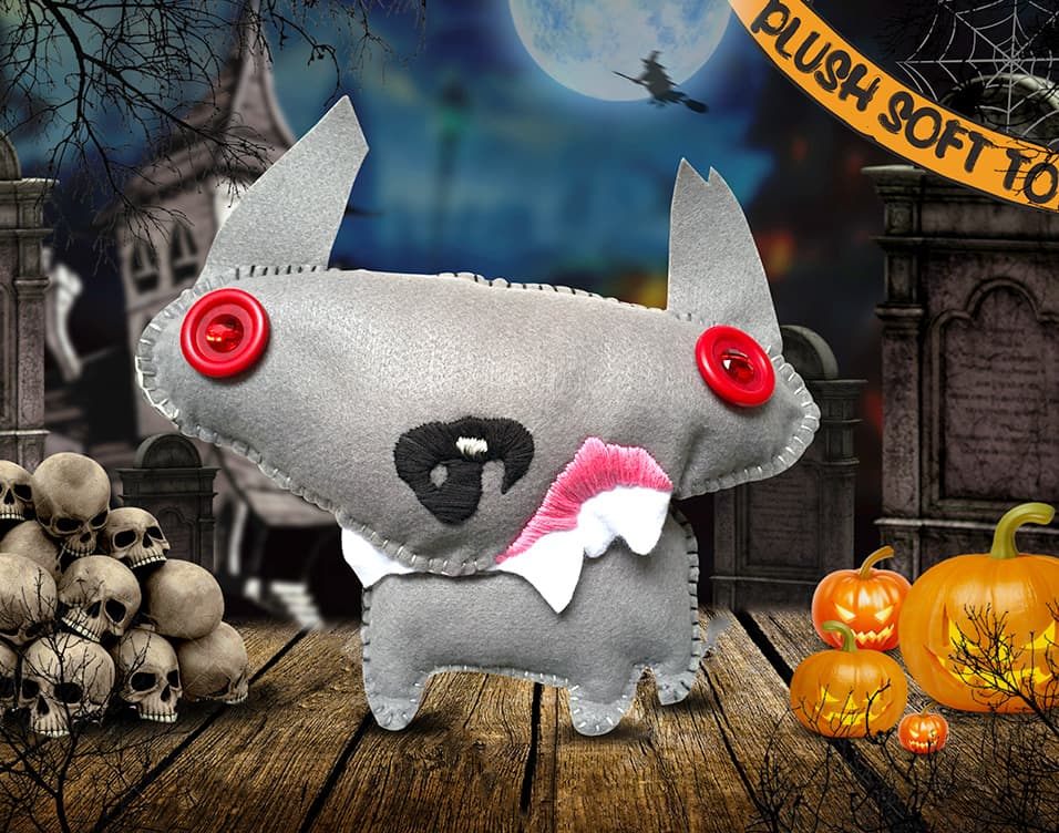 Hand Made Scary Dog Plush Soft Toy Photoshopped onto a Creative Halloween Themed Background