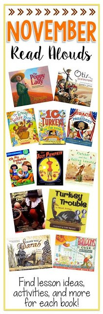 elementary teacher ideas looking for fall read alouds and fall reading activities? There are fun november crafts also!