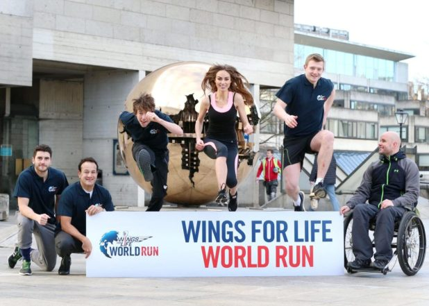 20/1/14***NO REPRO FEE***Flying start: Dublin footballer Bernard Brogan, Minister Leo Varadkar,Triathlete Con Doherty, Model Daniella Moyles and Galway Hurler Joe Canning pictured with Mark Pollock launch Wings For Life World Run 2014. 5,000 Irish runners sought to run the Ring of Kerry as part of 150,000-person race simultaneously taking place in 40 countries. The 'chase race' sees runners followed by a pace car they must stay ahead of to stay in the race. The winner is the last runner standing and 100% of registration fees go to Wings For Life, a not-for-profit spinal cord research foundation. Pic: Marc O'Sullivan