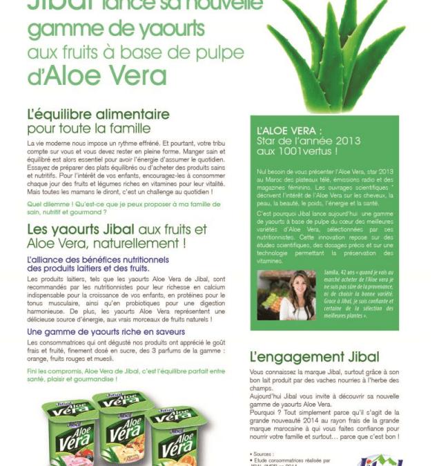 Publi-rédactionnel nutrition santé pour le nouveau yaourt de JIBAL
