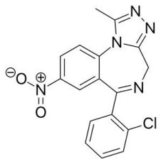 Chemical Structure of Clonazolam USA Research Chemical Liquid 0.5mg x 30ml