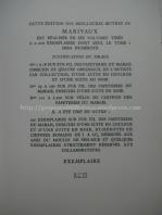 Justificação de tiragem para as Obras de Marivaux, editadas, em 6 volmes, pelas Éditions Arc-en-Ciel, e ilustradas por Paul-Émile Bécat
