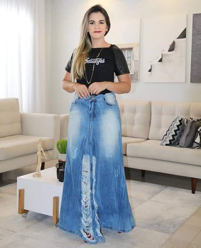 Saia longa em jeans 2022