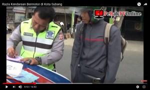 Razia Kendaraan Bermotor di Kota Subang