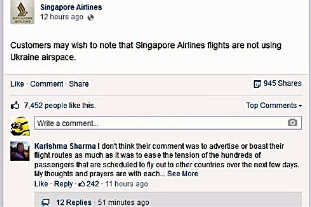 MH17: Singapore Airlines Mohon Maaf 'Posting' Di Media Sosial