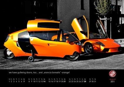 "August 2011 MonoTracer of Switzerland Calendar - we have gullwing doors, too... and ""arancia borealis"" -orange!"