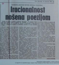 Iracionalnost nošena poezijom, 1969.