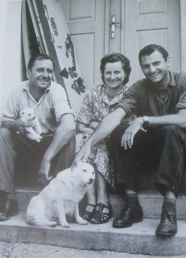 Ivan, Anka i Josip Generalić, oko 1960., Hlebine