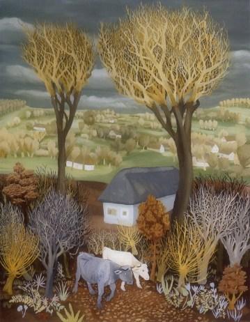 Krave u šumi, Iz Bilogore, 1938., ulje na staklu