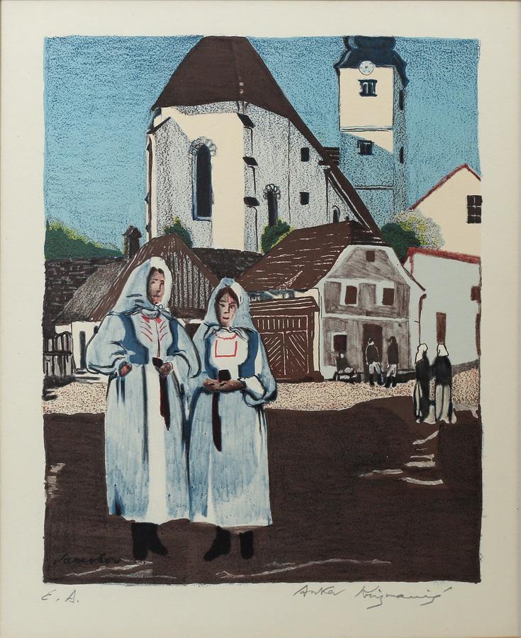 Anka Krizmanić - Samoborska crkva i dvije seljanke, 1920., drvorez; 29x24
