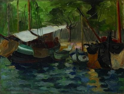 Vera Nikolić-Podrinska - Barke, dr.pol.20. st., ulje na platnu; 49x70