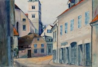 Smiljka Levak - Perkovčeva ulica, akvarel, 1957.; 41x57cm