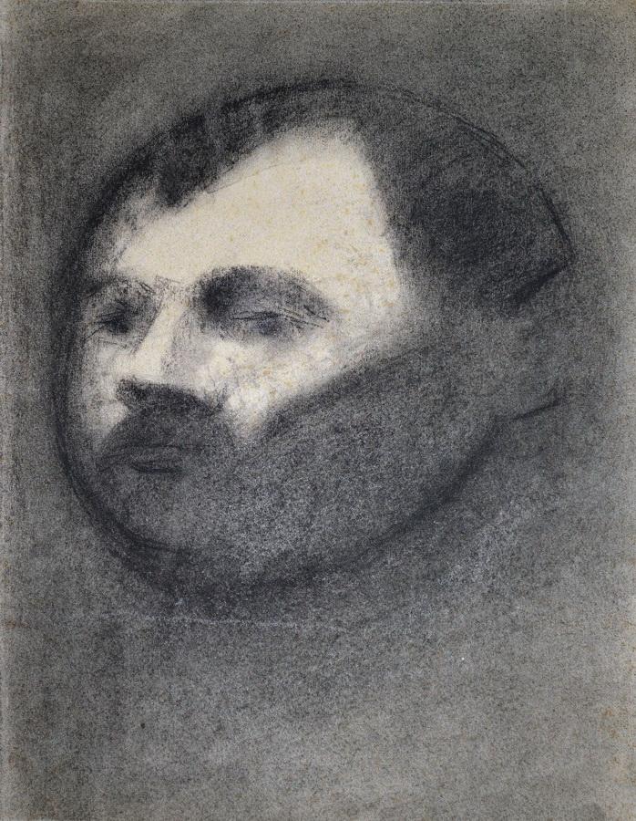 Autoportret, 1976.; ugljen, crtež (foto: Daniel Zec)