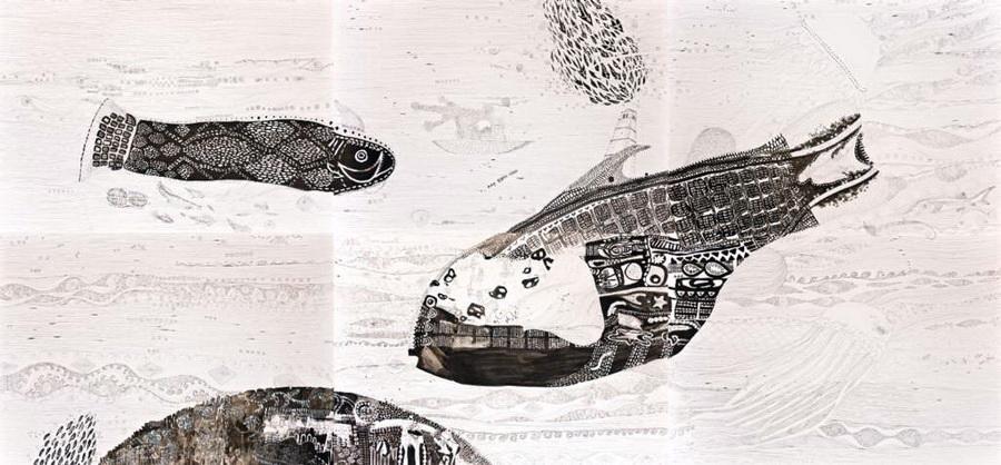 Depths, 2011., ink on paper, 140 x 300cm