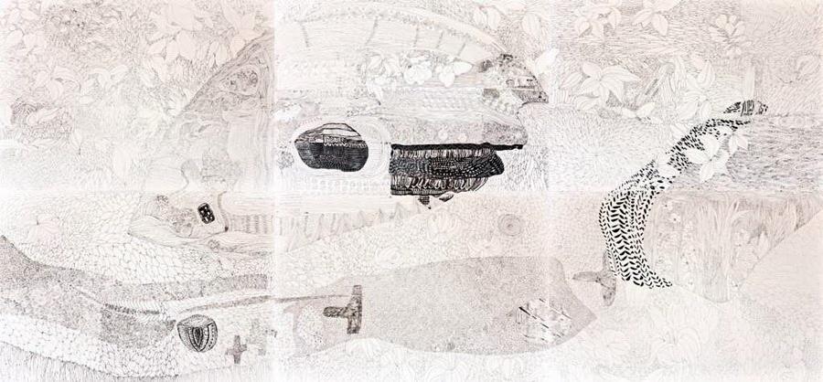 Widths 2011., ink on paper, 140 x 300cm
