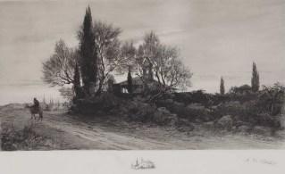 Večernji zvon, oko 1900., bakropis - foto: Goran Vranić
