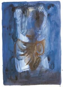 Sjedeći akt (13), 1950., tempera/papir; 84x60cm