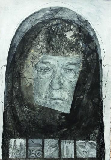 Miran Šabić - Autoportret: Sjećanje na djeda 2, 2015., kombinirana tehnika, 50x35cm