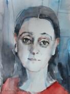 Nerica Abdulić Osmančević - Autoportret sa crvenom bluzom, 2017., akvarel, 24x32cm