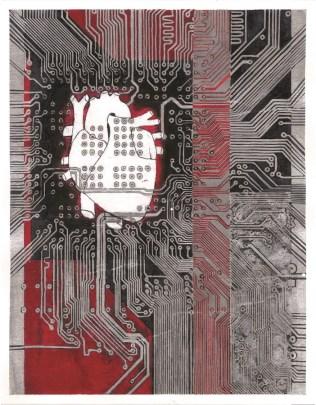 "Marija Lovrić - ""Strujna ploča""; grafitna olovka, marker, akril, kolaž, 32 x 41 cm, 2017."