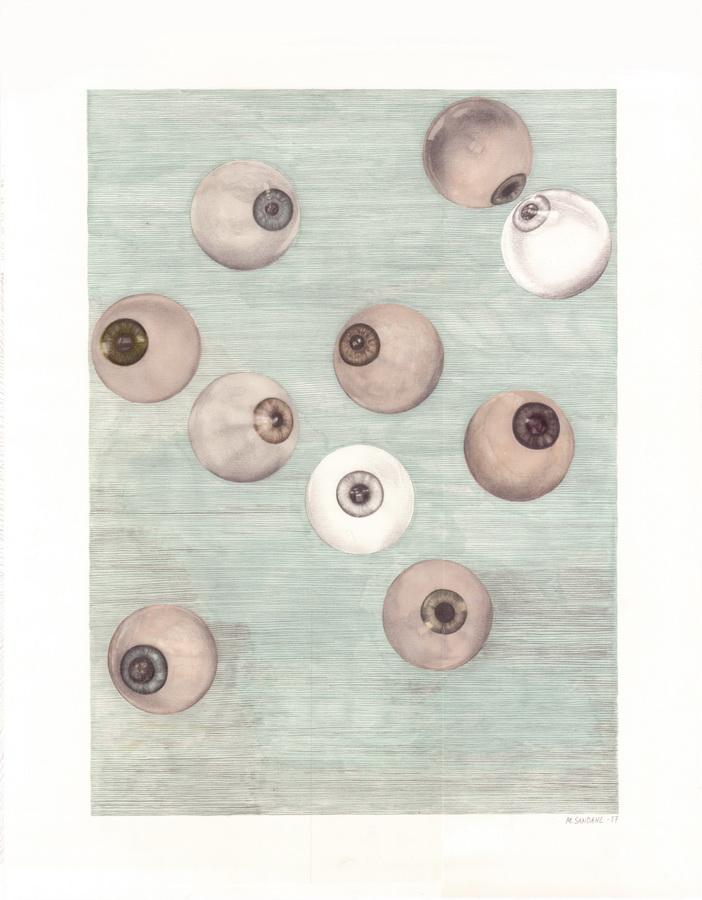 "Marie Sandahl - ""Piljiti""; grafitna olovka, marker, 32 x 41 cm, 2017."