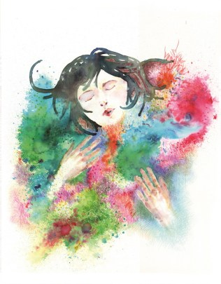 "Flávia Rodrigues Piątkiewicz - ""Zadržati taj osjećaj""; tuš, marker, akvarel, 32 x 41 cm, 2016."