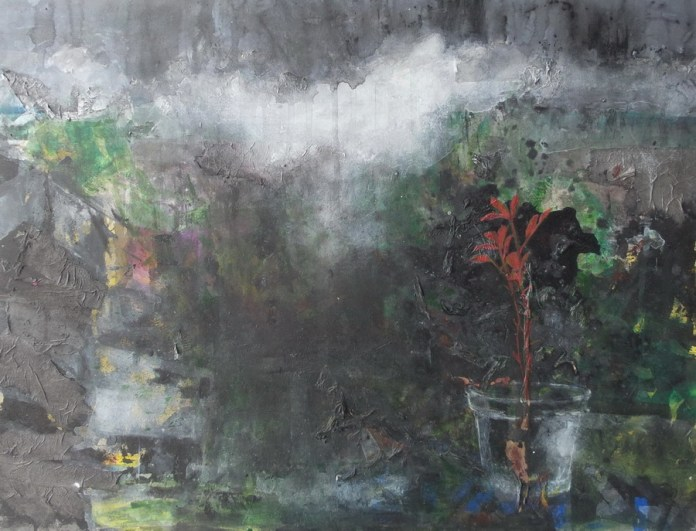 Iva Gluhinić – Promatrač, akrilik na mediapanu, 100 x 60 cm