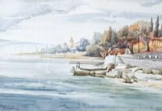 Plaža u Selcu - akvarel, 1993., 34x46cm
